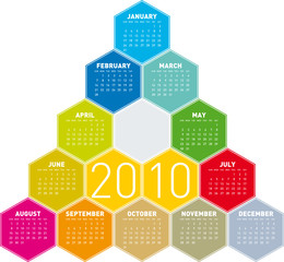Calendar for year 2010 in an hexagonal pattern