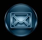 postal envelope icon dark blue, isolated on black background poster