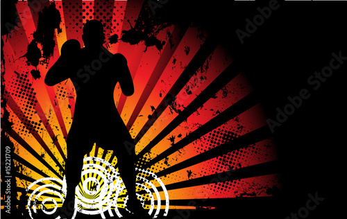 Boxer Man Silhouette with Yellow and Orange lightning