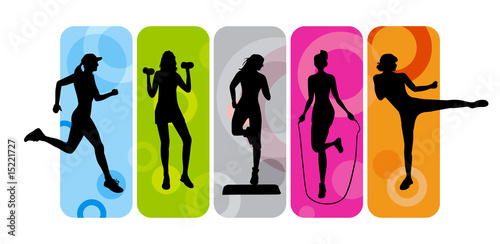 Fototapeta Fitness silhouettes