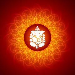 Lord Ganesha On Mandala Background