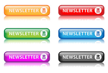 "Rectangular ""Newsletter"" buttons with reflection (x6)"
