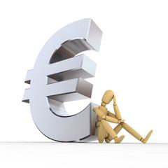 Doll Sitting At Euro Sign