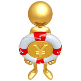 Gold Guy With Yen Coin In A Life Preserver