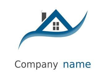 Logo maison formes ind rectangles arcs vague bleu gris