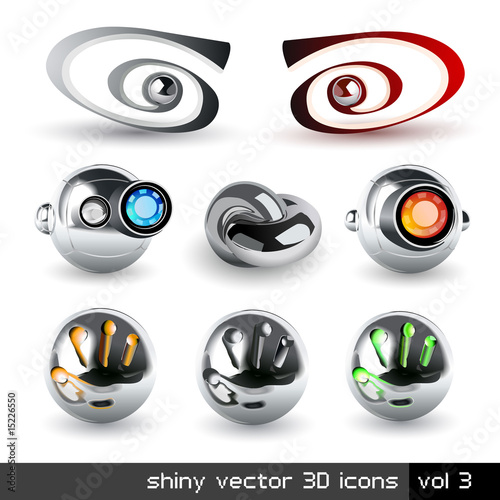 Vector set of chrome 3d icons. Visit my portfolio to see similar