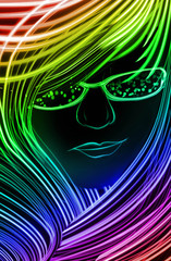 Girl made up of glowing lines
