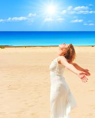 Girl in white under the sun