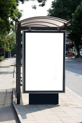 Black banner on a bus shelter.