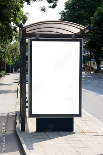 Black banner on a bus shelter. - 15235139