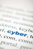 mot cyber lettres bleu texte flou poster