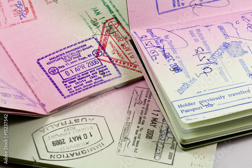 passports with visa stamps for asia - 15237542