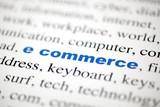 mot e commerce commerce électonique lettres bleu flou poster