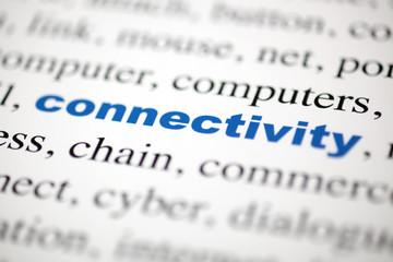 focus mot connectivity Connectivité bleu texte flou