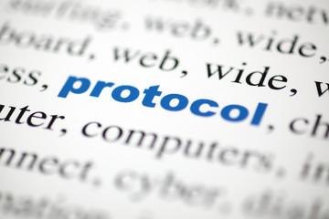 mot protocol protocol lettres bleu texte flou