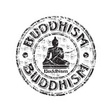Buddhism grunge rubber stamp poster