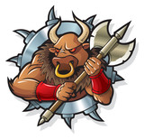 Minotaur, mythical creature, living in Labyrinth, vector poster