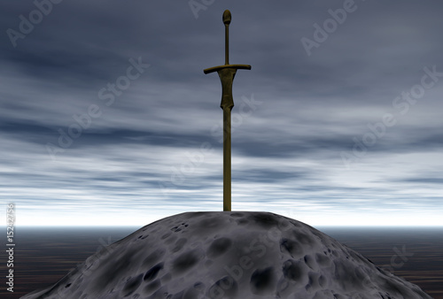 sword in stone 3d illustration