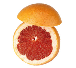 The ripe big grapefruit, is photographed on a white background