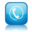 Square button with Telephone symbol (blue)