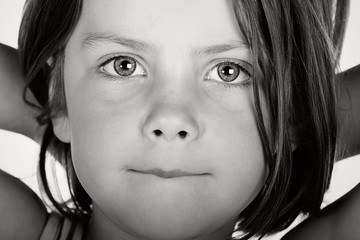 Close Up Black and White Shot of a Cute Child