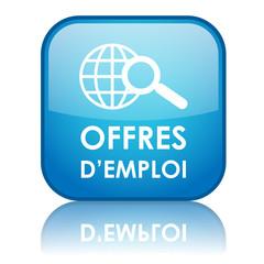 """Bouton carré """"OFFRES D'EMPLOI"""" (bleu)"""