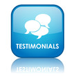 "Square ""TESTIMONIALS"" button with reflection (blue)"