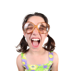 Shouting Girl Wearing Eye Glasses With Eyes Closed