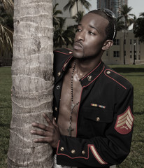 Young male model in military clothing