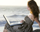 Laptop Computer at the Ocean
