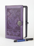Purple leather bound writing journal and pen poster