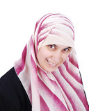 Muslim covered beautiful happy woman poster