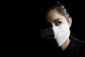 protective face mask on asian woman