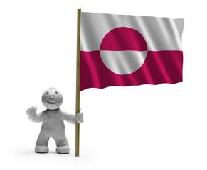 Grönland Flagge Flag of Greenland mit Figur