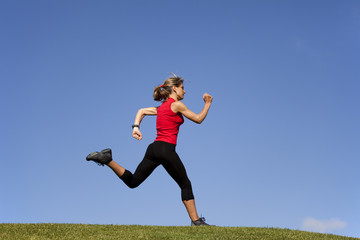 Running at the top of the hill
