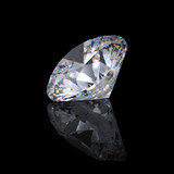 3d Round brilliant cut diamond perspective poster