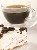 espresso coffee in glass cup with fancy cake poster