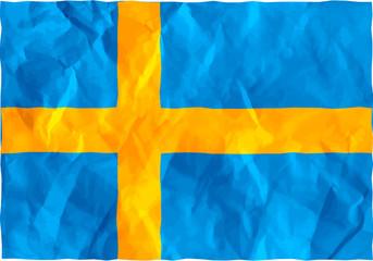 Swedish flag of crumpled paper