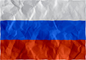 Russian flag of crumpled paper