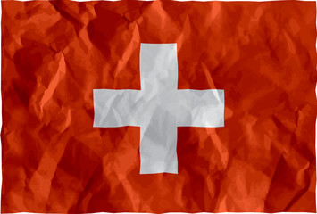 Swiss flag of crumpled paper