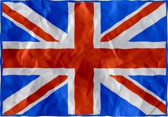 United kingdom flag of crumpled paper