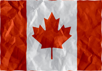 Canadian flag of crumpled paper
