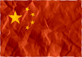 Chinese flag of crumpled paper