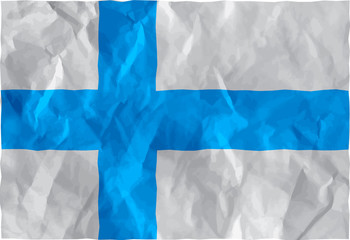 Finnish flag of crumpled paper