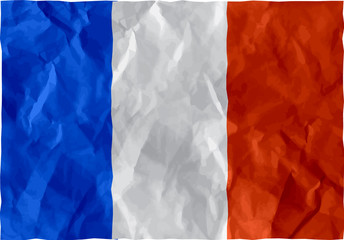 French flag of crumpled paper