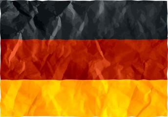 German flag of crumpled paper