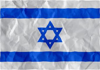 Israeli flag of crumpled paper