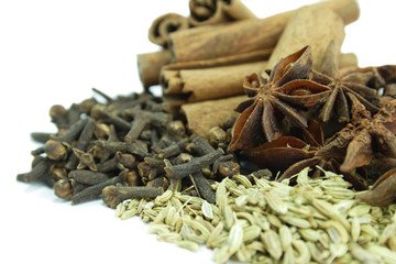 Spices comprising of cinnamon, star anise, cloves and fennel