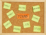 Young concerns on a cork board poster