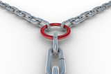 Chain fastened by a red ring. 3D image poster